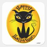 Gato caprichoso del feliz Halloween Calcomania Cuadradas Personalizada