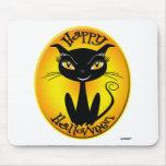 Gato caprichoso del feliz Halloween Tapetes De Raton
