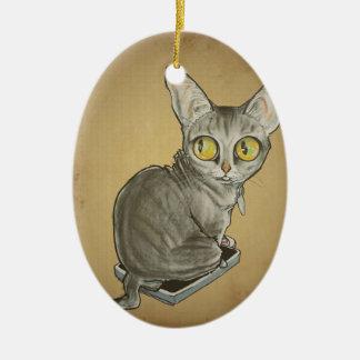 Gato Caricature.jpg del vigilante del peso Adorno Navideño Ovalado De Cerámica