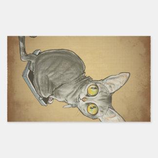 Gato Caricature.jpg del vigilante del peso Pegatina Rectangular