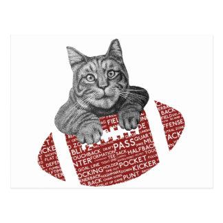 Gato cariñoso del fútbol americano postal