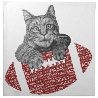 Gato cariñoso del fútbol americano servilletas imprimidas