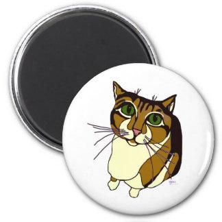 Gato chillón imán redondo 5 cm
