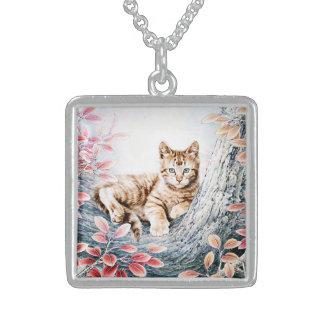 Gato chino del arte del gato en árbol collar de plata de ley