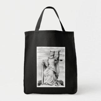 Gato ciego de la justicia bolsa tela para la compra