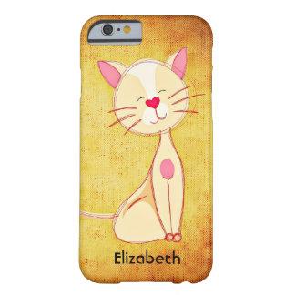 Gato color nata feliz lindo personalizado funda para iPhone 6 barely there