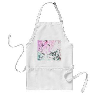 Gato coloreado, mariposas y remolinos florales delantales