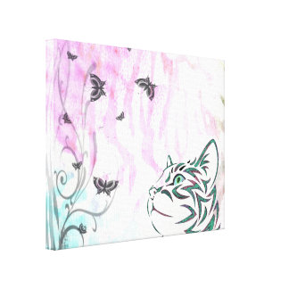 Gato coloreado, mariposas y remolinos florales impresiones de lienzo