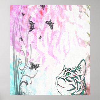 Gato coloreado, mariposas y remolinos florales impresiones