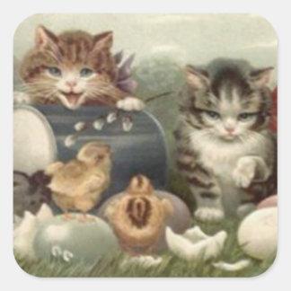 Gato coloreado polluelo del gatito del huevo de pegatina cuadrada