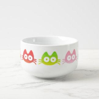 Gato colorido cuenco para sopa