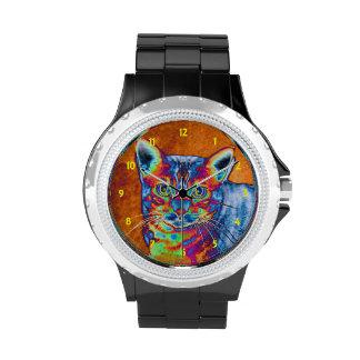 Gato colorido de Bengala que brilla intensamente Relojes