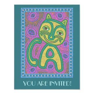 """Gato colorido del Dreamland Invitación 4.25"""" X 5.5"""""""
