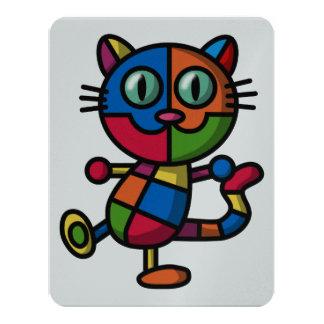 """gato colorido invitación 4.25"""" x 5.5"""""""