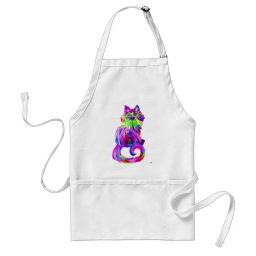 Gato colorido pintado dedo delantal