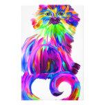 Gato colorido pintado dedo papeleria personalizada