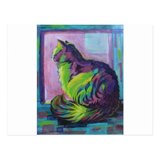 Gato colorido postal