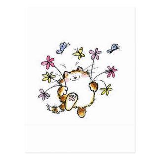 Gato com flores cartão postal