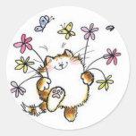 Gato com flores pegatina redonda
