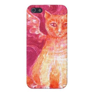 Gato con alas del jengibre iPhone 5 fundas