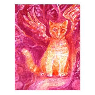 Gato con alas del jengibre postal