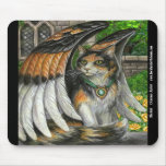 Gato con alas travesura Mousepad Tapetes De Raton