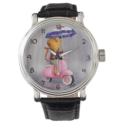 Gato con clase del gatito en la vespa rosada relojes de pulsera