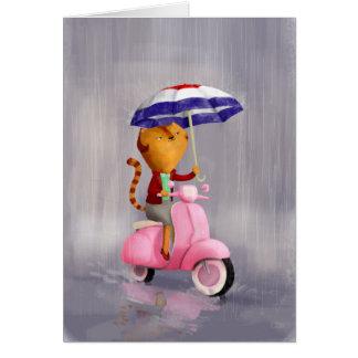 Gato con clase del gatito en la vespa rosada tarjeta de felicitación
