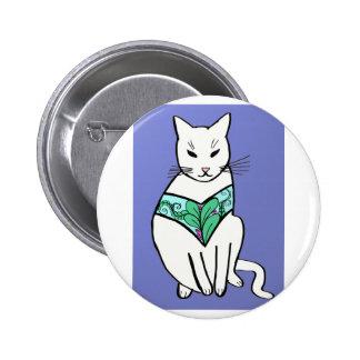 Gato con diseño de la hoja pin redondo 5 cm