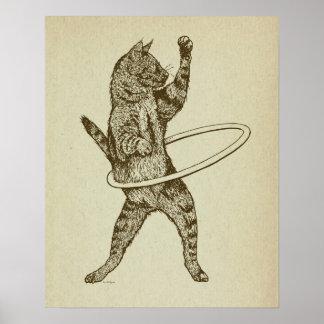 Gato con el aro de Hula Póster