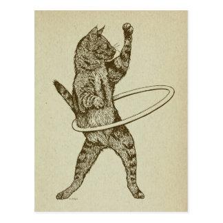 Gato con el aro de Hula Tarjeta Postal