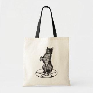 gato con el bolso del pentagram bolsa tela barata
