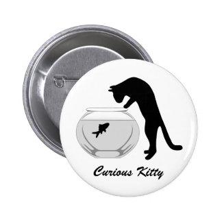 Gato con el botón del cuenco de los pescados pin