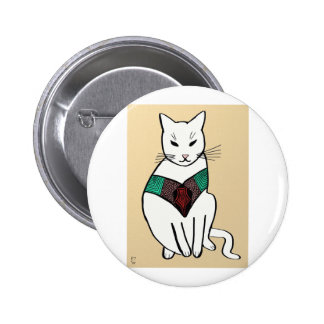 Gato con el cuello de rubíes pin redondo 5 cm