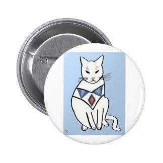 Gato con el cuello del diamante pin redondo 5 cm