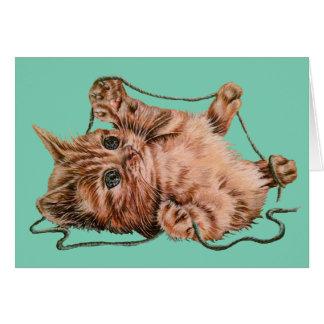 Gato con el dibujo del hilado del gatito del tarjeta de felicitación