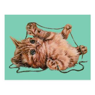Gato con el dibujo del hilado del gatito del postal