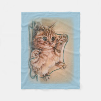 Gato con el dibujo del hilado del retrato del manta de forro polar