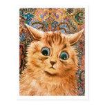 Gato con el fondo Louis Wain del papel pintado Tarjetas Postales