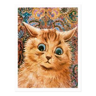 Gato con el fondo Louis Wain del papel pintado Tarjeta Postal