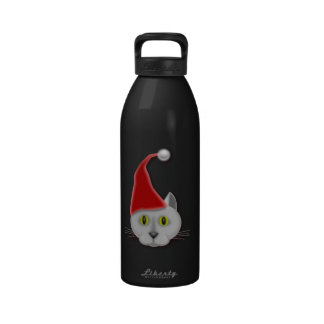 Gato con el gorra del navidad botella de beber
