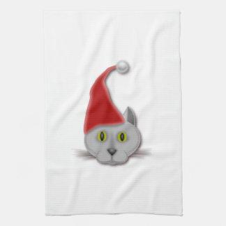Gato con el gorra del navidad toalla de cocina
