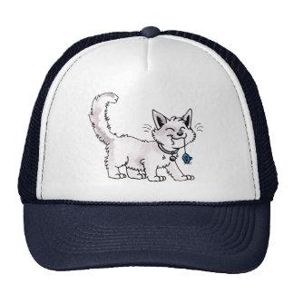 Gato con el gorra del ratón del juguete