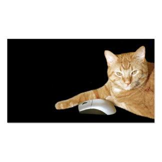Gato con el ratón del ordenador tarjetas de visita