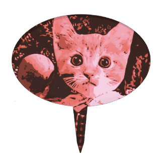 Gato con la bola palillos de tarta