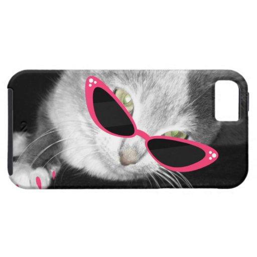 Gato con la caja del teléfono 5 de las gafas de iPhone 5 Case-Mate protectores