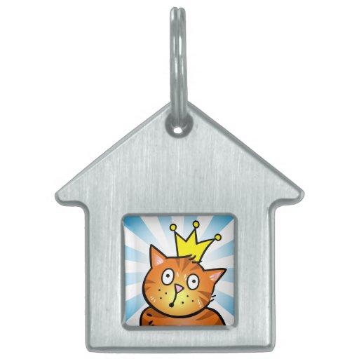 Gato con la corona - etiqueta del gato placas mascota
