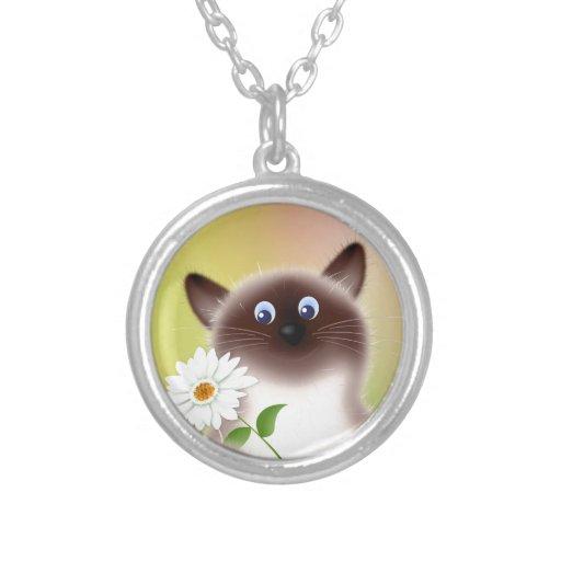 Gato con la flor colgante personalizado
