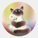 Gato con la flor etiqueta