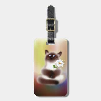Gato con la flor etiqueta para maleta